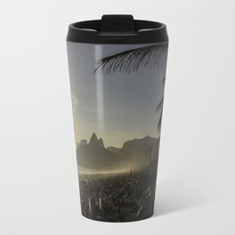 Sunset at Ipanema Beach with Pam Trees Travel Mug