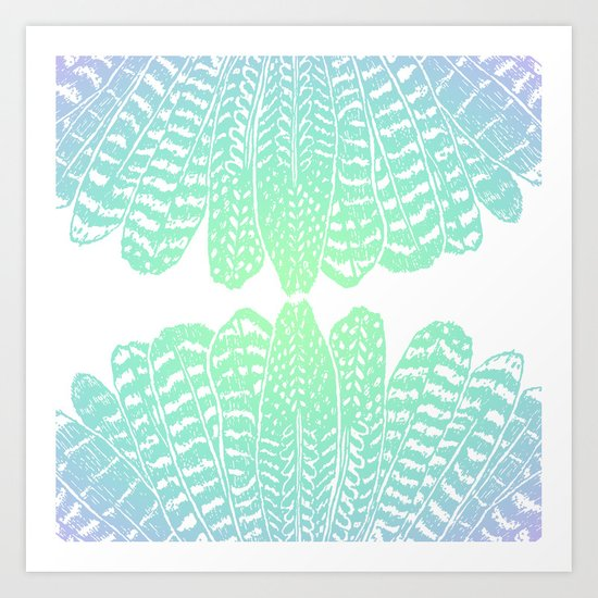 TRIBAL FEATHERS - SEAFOAM Art Print