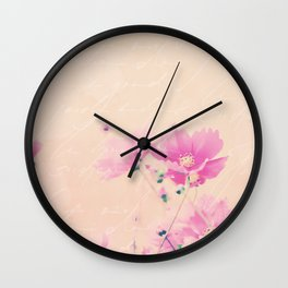 Pastel Pink Flowers mixed media art Wall Clock
