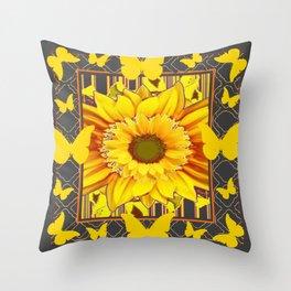 YELLOW BUTTERFLIES SUNFLOWER  CHARCOAL GREY Throw Pillow