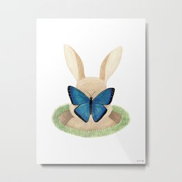 Butterfly resting on a bunny's nose Metal Print