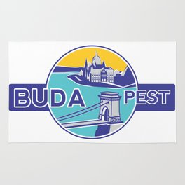 Budapest, Chain Bridge, sticker, blue, yellow Rug