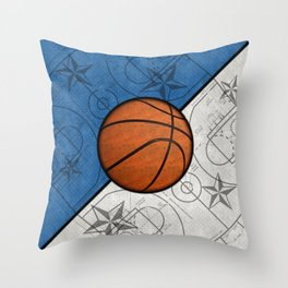 Basketball on Blue and White Basketball Court with Stars Throw Pillow