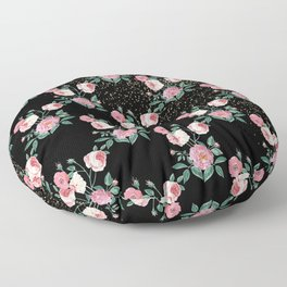 Romantic peony floral and golden confetti design Floor Pillow