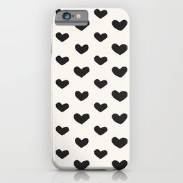 Modern Painted Hearts on Cream iPhone Case