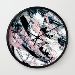 Modern abstract pastel pink black white grey acrylic brushstrokes Wall Clock