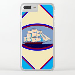 A Nautical Scene with Clipper Ship with Sky Blue Background Clear iPhone Case