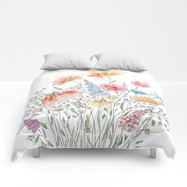 wild flower bouquet and blue bird- ink and watercolor 2 Comforters