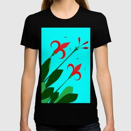 A Garden of Big Red Flowers with Buds with Blue T-shirt