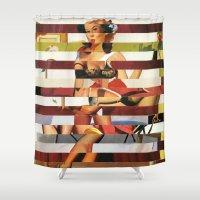 britney Shower Curtains featuring Glitch Pin-Up Redux: Britney by Wayne Edson Bryan
