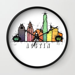 Austin Texas Colorful Silhouette Wall Clock