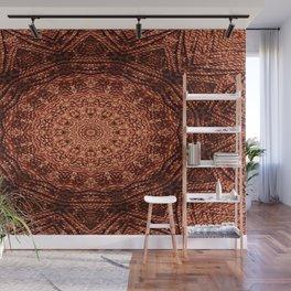 Knit pattern kaleidoscope copper Wall Mural