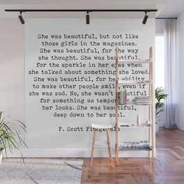 She Was Beautiful, F. Scott Fitzgerald, Quote Wall Mural