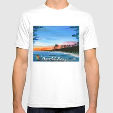 """PEACEFUL LIVING""  SMALL Mens Fitted Tee White"