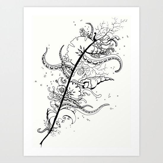 Abstract Art Unique Trending Bird Feather Sea Life Ocean Shells Sand Octopus  Art Print