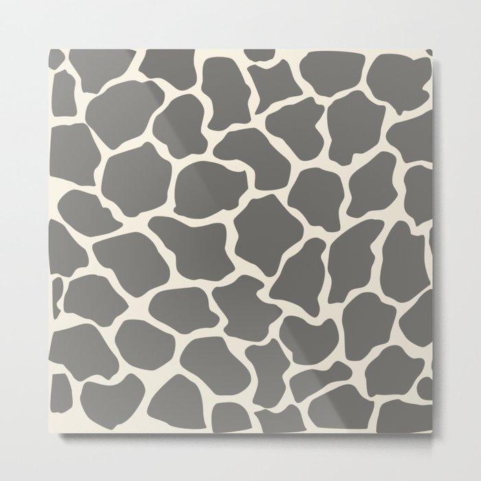 Safari Giraffe Print - Grey & Beige Metal Print