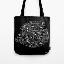 Typographic Map of Paris Tote Bag
