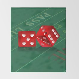 Craps Table & Red Las Vegas Dice Throw Blanket