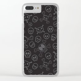 Black and Gray Skull & Crossbones Seamless Pattern Halloween Design Clear iPhone Case