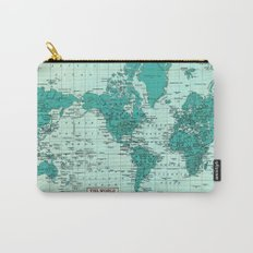 World Map in Teal Carry-All Pouch