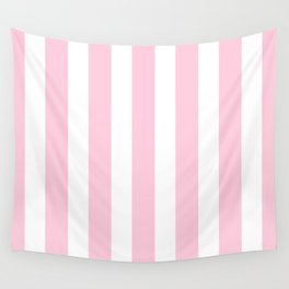 Pink & White Vertical Stripes Wall Tapestry