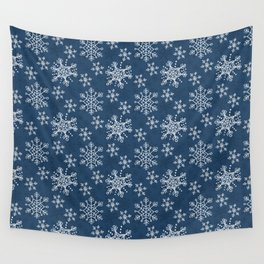 Hand Drawn Snowflakes on Blue Wall Tapestry