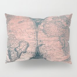 Vintage World Map Rose Gold and Storm Gray Navy Pillow Sham