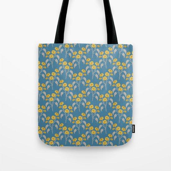 Flowers Blue Pattern Tote Bag