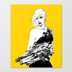 Arbitrary - Badass girl with gun in comic and pop art style Canvas Print