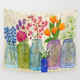 Springs Flowers in Old Jars Wall Tapestry
