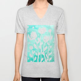 Whimsical watercolor flowers – turquoise Unisex V-Neck