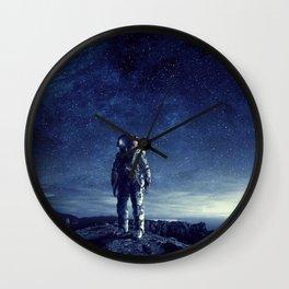 galaxy astronaut Standing alone in Mars Wall Clock