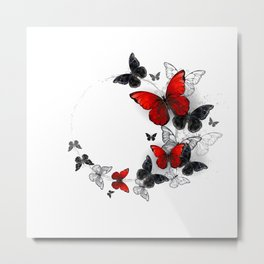Flight of Black and Red Butterflies Morpho Metal Print