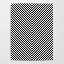 Back and White Lines Minimal Pattern Basic Poster