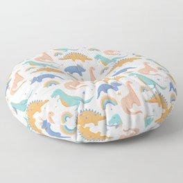 Dinosaurs + Rainbows in Blush Pink + Gold + Blue Floor Pillow