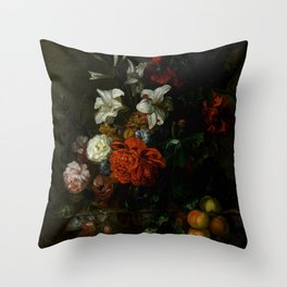 """Ernest Stuven """"Poppies, lilies, roses and other flowers in a glass vase on a draped marble ledge"""" Throw Pillow"""