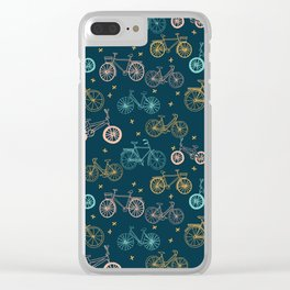 Bicycles cycle pattern navy and pastel pink by andrea lauren Clear iPhone Case
