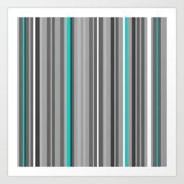 Vertical Monochrome + Teal Art Print