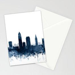 Cleveland Skyline Navy Blue Watercolor by ZouzounioArt Stationery Cards