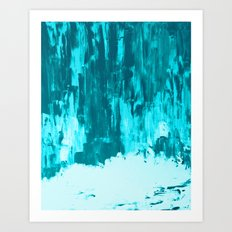 Bright Blue Snow Nights with Icicles Art Print