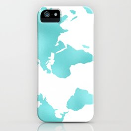 Turquoise Map of the World iPhone Case