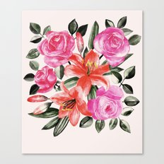Roses and Lilies in watercolor Canvas Print