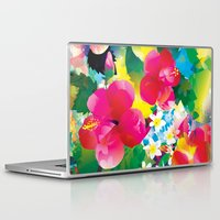 hawaiian Laptop & iPad Skins featuring Hawaiian jungle by Akwaflorell