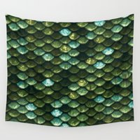 bisexual Wall Tapestries featuring Aqua and green sparkling scales by Better HOME