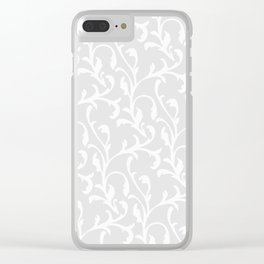 Pastel gray white abstract vintage damask pattern Clear iPhone Case