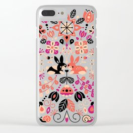 Bunny Lovers – Peach & Black Palette Clear iPhone Case