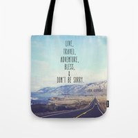 kerouac Tote Bags featuring Kerouac - Travel Edition by Altgasse Designs
