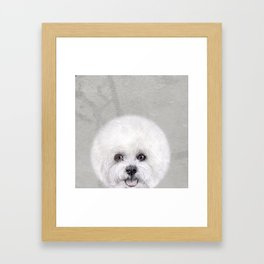 Bichon illustration, Dog illustration original painting print Framed Art Print