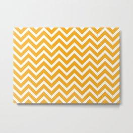 orange, white zig zag pattern design Metal Print