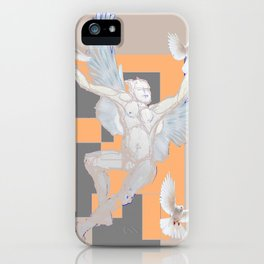 Abstract Angel With Birds Grey Art iPhone Case